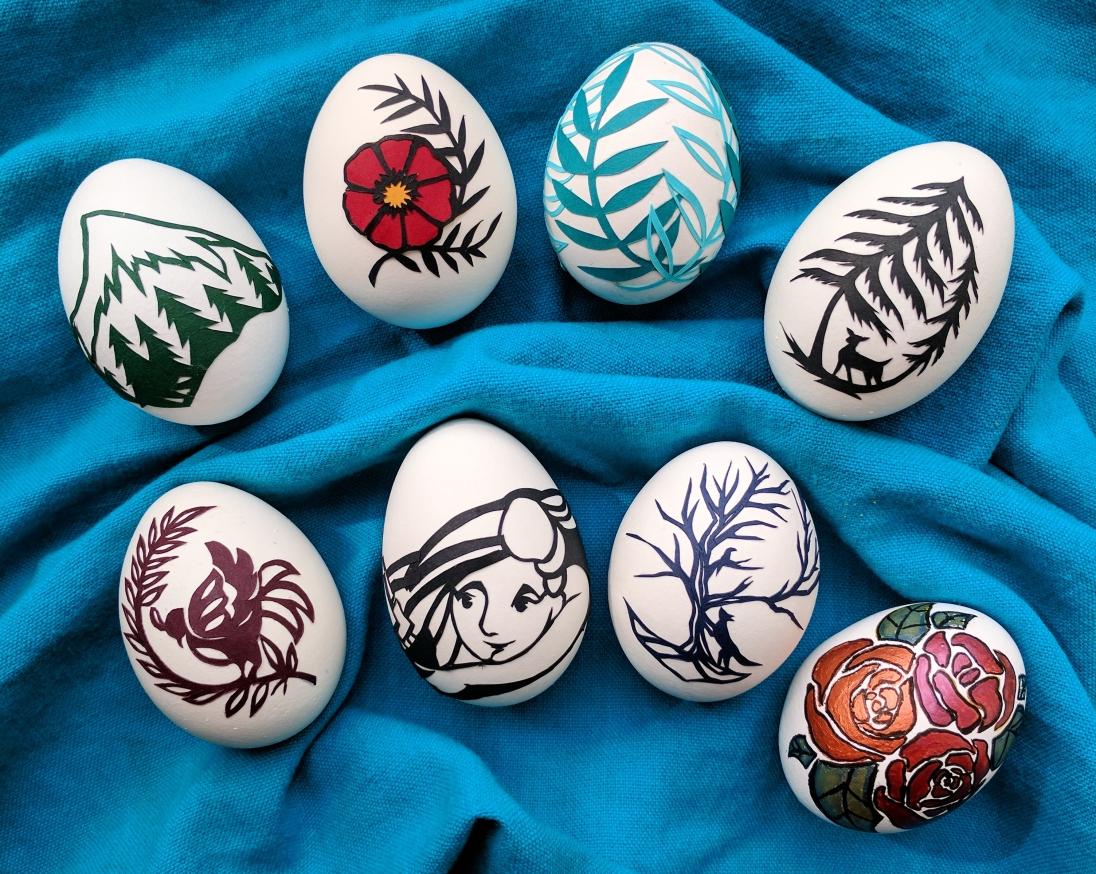 Elizabeth Goss, Scherenschnitte Eggs (and one painted egg too!)